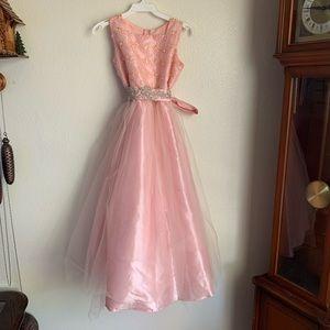 Blush Pink Aline Rhinestone Girls Dress
